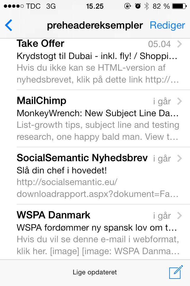 MailChimp udnytter deres preheader effektivt.