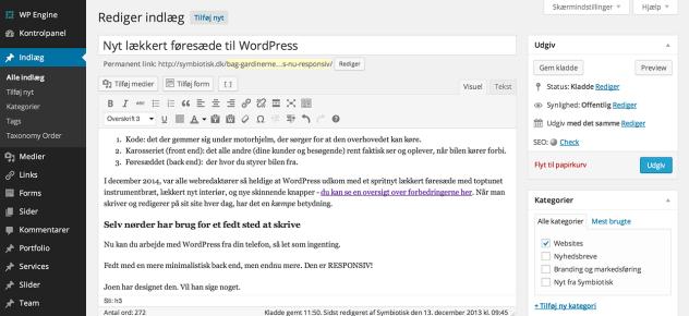 Sådan ser den nye WordPress backend ud, når man skriver indlæg, som dette. Bemærk ikonerne i menuerne, den klare adskilning mellem menu og redigeringsfelter, samt et moderne fladt look.